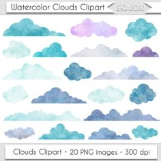 Watercolor Clouds Clipart Digital Clouds Clip Art Baby Shower Clouds Blue Clouds Overlay Scrapbooking Clouds Invitations Weather Clipart by skaior on Etsy https://www.etsy.com/listing/254598986/watercolor-clouds-clipart-digital-clouds