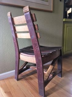 Dining chair made from oak Wine Barrel Staves. Red wine stain shown on seat and back. This chair is very solid and comfortable. Before placing an order please send email with Zip code to determine shipping charges. Wine Barrel Chairs, Whiskey Barrel Furniture, Wine Barrels, Wine Crates, Wooden Crates, Picnic Table Bench, Barrel Projects, Wood Projects, Red Wine Stains