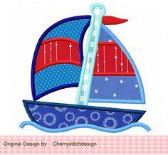 Sailboat Digital Appliqque -4x4 5x7 6x10-Machine Embroidery Applique Design