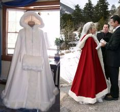 Cheap Bridal Cape Ivory Stunning Wedding Cloak Hooded with Faux Fur Trim Ankle Length Red White Perfect For Winter Long Wraps Jacket 2015 Winter Wedding Cape, Winter Cape, Renaissance Wedding, Mother Of The Bride Gown, Wedding Jacket, Bridal Cape, Wedding Wraps, White Bridal, Bridesmaid Dresses