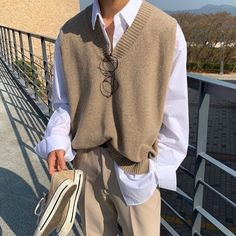 Indie Outfits, Korean Outfits, Teen Fashion Outfits, Cute Casual Outfits, Trendy Fashion, Korean Fashion, Vest Outfits, Der Gentleman, Mode Streetwear