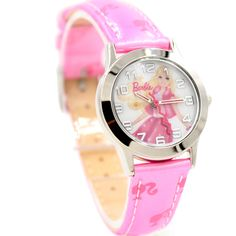 KW058M Új Pink zenekar Kerek PNP Shiny Silver Watchcase Gyermek Watch