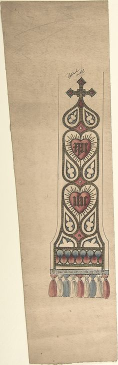 Design for a Stole or Maniple Ernest Geldart (British, London 1848–1929) Date: late 19th–early 20th century Medium: Graphite, pen and ink with watercolor Classification: Drawings Credit Line: Exchange, Royal Institute of British Architects, 1960 Accession Number: 60.724.16