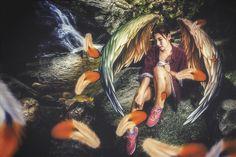 modern angel by stream