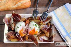 Receta de huevos a baja temperatura con patatas y jamón