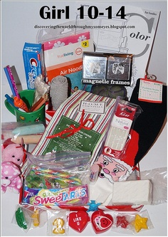Shoe box idea for girls - There is a link here to a page the kids can fill out and color. Might be easier for some kids then writing a letter. Christmas Child Shoebox Ideas, Operation Christmas Child Shoebox, Kids Christmas, Christmas Gifts, Christmas Boxes, Operation Shoebox, Samaritan's Purse, Shoe Box, Diy Gifts