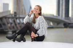 Britt wearing Invito ankle boots