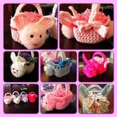 Crochet bunny baskets. Made by me :)