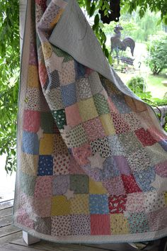 shabby chic quilts | Shabby Chic 30's fabric vintage look patchwork quilt