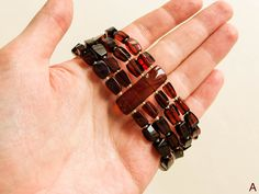 Exclusive dark red natural amber four strings bracelet | Etsy