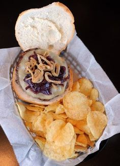 This is the 'If You Love Onion Burger' served at the Steel Pub in Bethlehem.