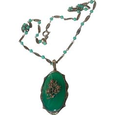 Vintage Art Deco Green Agate Sterling Silver Marcasite Pendant Necklace