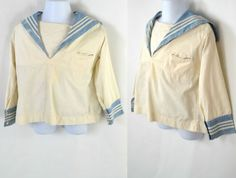 Vintage Toddler Boy White and Light Blue Sailor Shirt by