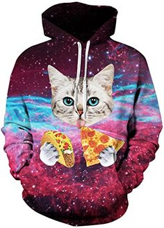 TDOLAH Womens Galaxy Printed Hoodies 3D Graphic Animal Sweatshirt Pullover  Jumpers Plus Size Funny Pizza 541338575