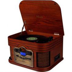 Toca Discos Classic Alabama 31902 com Rádio, USB, Fita Cassete, CD e MP3 Player - Megazim