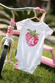 Sweet Strawberry Initial Onesie
