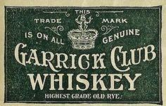 1896  ALFRED E NORRIS DISTILLERY PHILADELPHIA PA GARRICK CLUB WHISKEY Whiskey Logo, Rye Whiskey, Whisky, Vintage Graphic Design, Vintage Type, Wine And Beer, Sign Design, Print Design, Vintage Typography