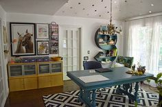 Gorgeous home office with an upcylced monogram shelf by The Happy Homebodies featured on @Remodelaholic