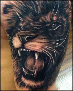 Amazing lion tattoo.