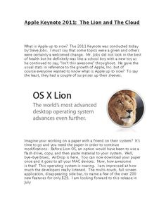 Giving insight on Apples Keynote for OSX Lion