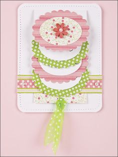 handmade card ... Scalloped Oval Waterfall Card... green and pink printed papers with white ... delightful card ... pattern available for purchase on the site ...