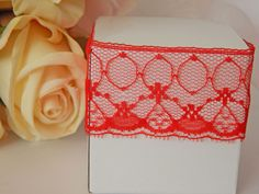 1 mtr x 3.1cm Width Red Lace - Perfect for Wedding Invitations or bomboniere boxes! - Hall Occasions