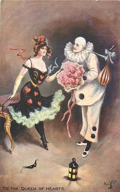 """Harlequin: Columbine and ~ """"To the Queen of Hearts,"""" by Leonard Linsdell. Pierrot, Vintage Circus, Vintage Art, Vintage Paper, Halloween Zodiac, Vintage Halloween Cards, Halloween Queen, Send In The Clowns, Human Art"""