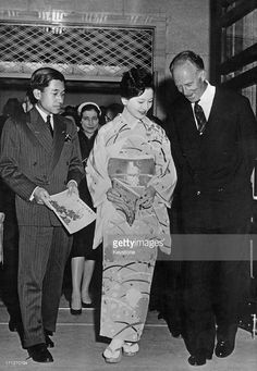 Ex-King Leopold III of Belgium (1901 - 1983) arrives at the Kabuki Theatre accompanied by Crown Prince Akihito and Princess Michiko, Tokyo, Japan, 16th March 1961.