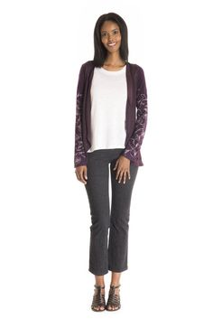 The Rudbeckia Cardigan Print - women's spring summer fashion purple bamboo jersey floral cardigan Floral Cardigan, Fukushima, Spring Summer Fashion, Bamboo, Capri Pants, Purple, Fabric, Sleeves, Cotton