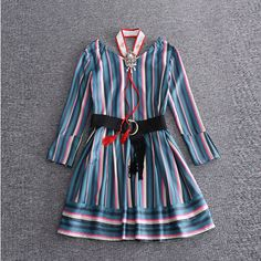 >> Click to Buy << Europe Fashion 2017 Summer Newest Silk Striped Print O-Neck Full Sleeve Fashion Hanging Drop Silm Sashes Above Knee Dress Women #Affiliate