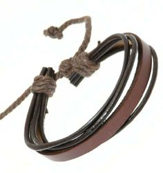 Neptune Giftware Dark Brown Leather Strap & Black Leather Cords Leather Bracelet / Leather Wristband / Surf Bracelet Neptune Giftware. $6.94
