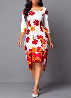 Party Dresses For Women Asymmetric Hem Flower Print Round Neck Dress African Fashion Ankara, Latest African Fashion Dresses, African Dresses For Women, African Print Dresses, African Print Fashion, African Attire, Women's Fashion Dresses, Ankara Gown Styles, Classy Dress