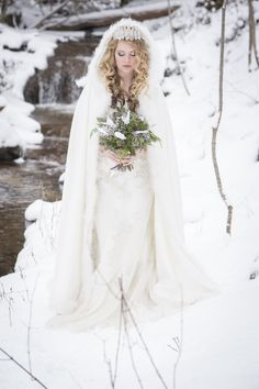 Waterfalls @ Coldstream Farm Ice Princess 2016 Shoot Winter Photographer: Brad Quarrington Dress and Cape: Exchanging Vows Bridal Boutique Florals: Petals In Thyme Hair and Make-up: MBA Mobile Hair and Make-up Vows Bridal, Ice Princess, Bridal Boutique, Waterfalls, Originals, Florals, Cape, Wedding Dresses, Winter