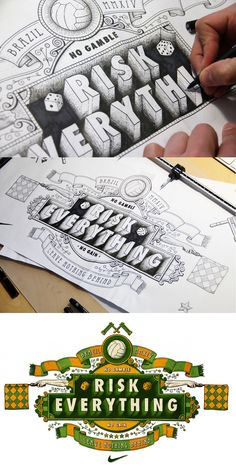 """Risk Everything"" by Tobias Hall - #design #typography #calligraphy"