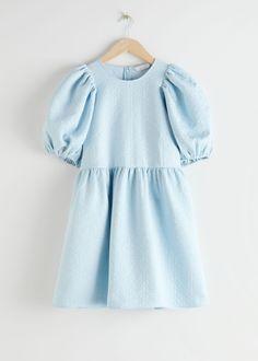 Jacquard Mini Gathered Dress - Light Blue - Mini dresses - & Other Stories Fashion Story, Fashion Outfits, Womens Fashion, Sporty Outfits, Dress Fashion, Fashion Ideas, Kids Fashion, Party Dresses Online, Blue Dresses