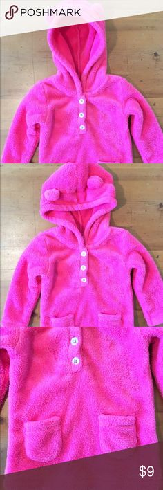 Carters Pink Fleece with Ears Excellent condition so so soft size 18 months hood with ears sparkle buttons two lower pockets 22 in long 11 in chest 10 1/2 sleeves very very cute Carter's Shirts & Tops Sweatshirts & Hoodies