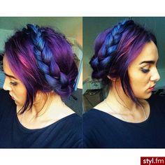 Fryzury  Kolorowe włosy: Fryzury Średnie Na co dzień Proste Warkocze Kolorowe - Szzeherezada - 2687721