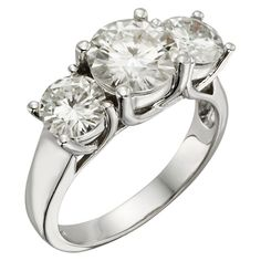 3.90 CT. T.W. Round Forever Brilliant Moissanite Three Stone Prong Set Ring in 14K White Gold