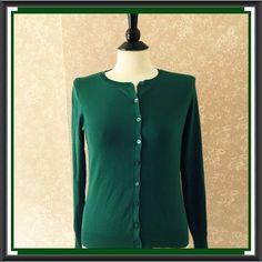 August Silk Cardigan Sweater Green Womens Petites Small PS #AugustSilk #Cardigan