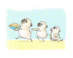when i call — Sky High Apple Pie Kitchen Art Print - Funny Pug...