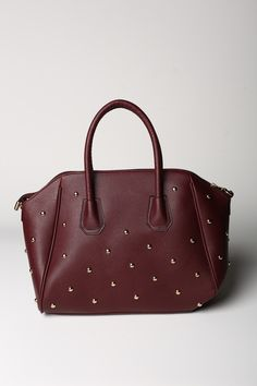 Studded Burgundy Tote- $19.99  #discoveryclothing #fall2013