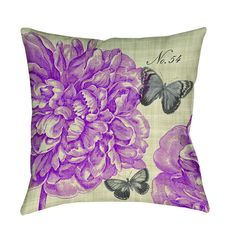 Beautiful art by Paula Scaletta creates a botanically themed design in soft magenta on taupe and Grey for this printed pillow.