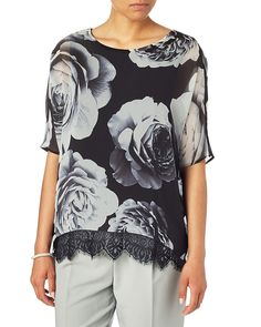 All New Arrivals | Black Robyn Rose Print Blouse | Phase Eight