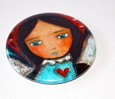 New! Wings of Love  Pocket Mirror Original Art by Flor by FlorLarios, $8.00