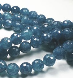 8mm  Ocean Blue Anhydrite Angelite Round Faceted by royalmetals 4.65 for bracelet