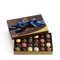 GODIVA Signature Truffles Gift Box Striped Tie Ribbon 24 Pc - $46.99 - FREE SHIPPING
