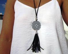 largo de cuero collar borla collares joyas de Bohemia boho