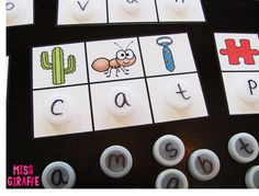 Recycle bottle caps to play secret words! Kids look at the beginning sound of each picture to figure out the secret CVC words
