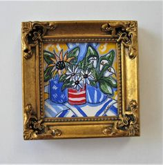 Original Framed Miniature Sunflowers Painting on canvas, red, blue, dasies, Call. - Painting Ideas On Canvas Red Wall Art, Floral Wall Art, Canvas Painting Landscape, Abstract Canvas, Mini Paintings, Miniature Paintings, Floral Paintings, Acrylic Paintings, Canvas Frame