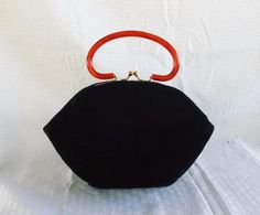 1960's Vintage Blue Velvet Hand Bag Purse with by MyVintageHatShop
